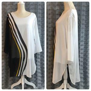 Alfani Tunic Blouse XL Black White Shirt Top NEW